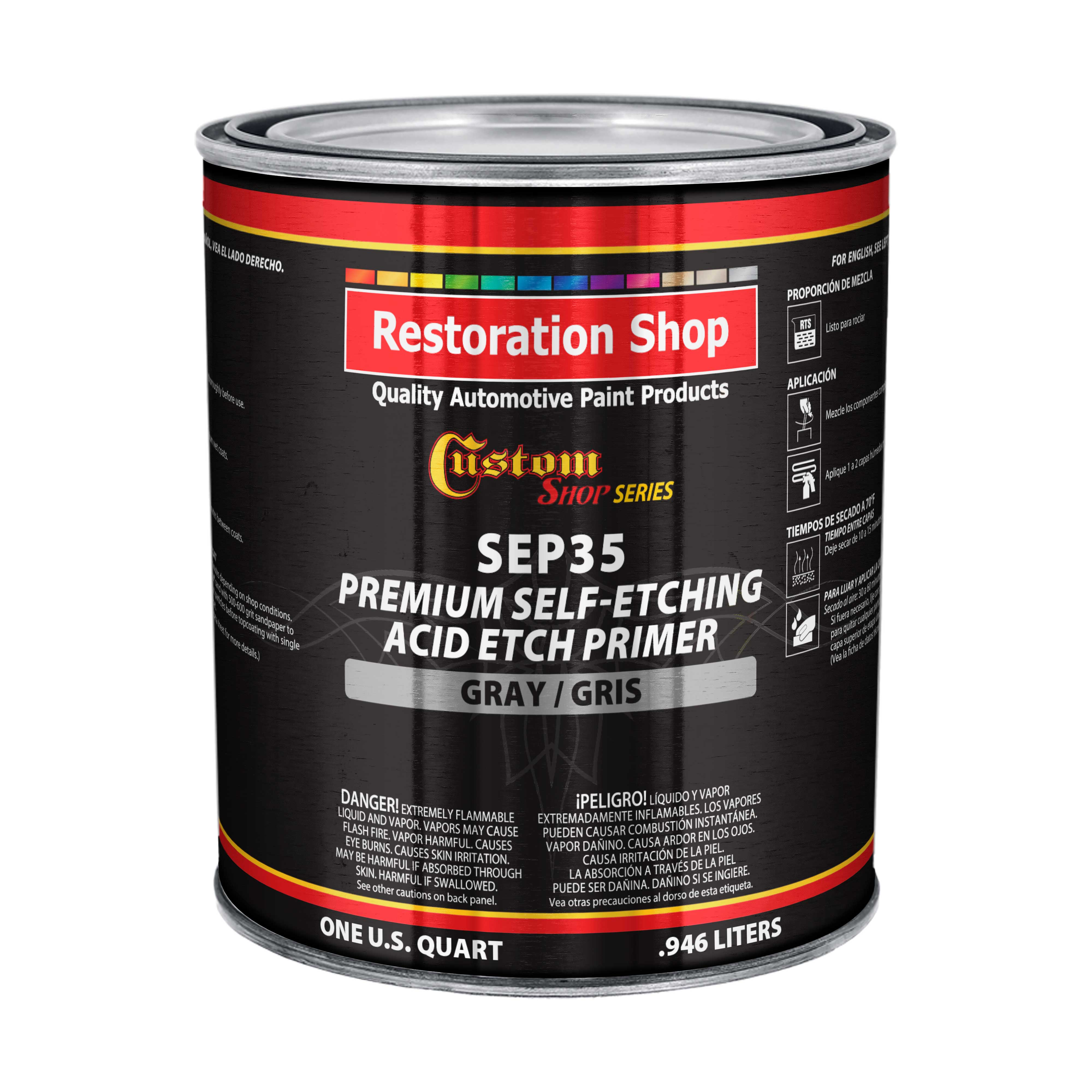 Custom Shop Premium Self Etching Acid Etch Primer, 1 Quart - Ready to Spray Paint, Excellent Adhesion to Bare Metal, Steel, Aluminum, Fiberglass - Use on Automotive Car Parts, OEM Industrial Coating