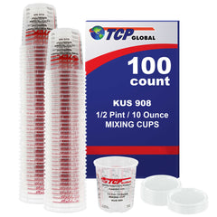 Box of 100 - Mix Cups - 1/2 Pint size - 10 ounce Volume Paint and Epoxy Mixing Cups - Mix Cups Are Calibrated with Multiple Mixing Ratios - Includes 12 Bonus Lids