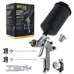 Master Pro 88 Series High-Performance HVLP Spray Gun Ultimate Kit with 3 Fluid Tip Sets 1.3, 1.4 and 1.8 mm, Air Pressure Regulator Gauge, MPS Adapter