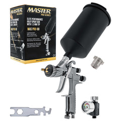 Master Pro 88 Series High Performance HVLP Spray Gun with 1.3mm Tip with Air Pressure Regulator Gauge, MPS Cup Adapter included