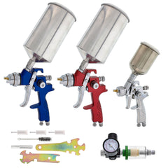 TCP Global Brand Complete Professional 9 Piece HVLP Spray Gun Set with 2 Full Size Spray Guns, 1 Detail Spray Gun, Inline Filter & Air Regulator