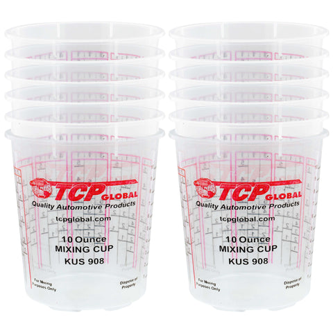 Pack of 12 - Mix Cups - 1/2 Pint size - 10 ounce Volume Paint and Epoxy Mixing Cups - Mix Cups Are Calibrated with Multiple Mixing Ratios