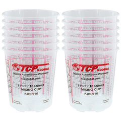 Pack of 12 - Mix Cups - Pint size - 16 ounce Volume Paint and Epoxy Mixing Cups - Mix Cups Are Calibrated with Multiple Mixing Ratios