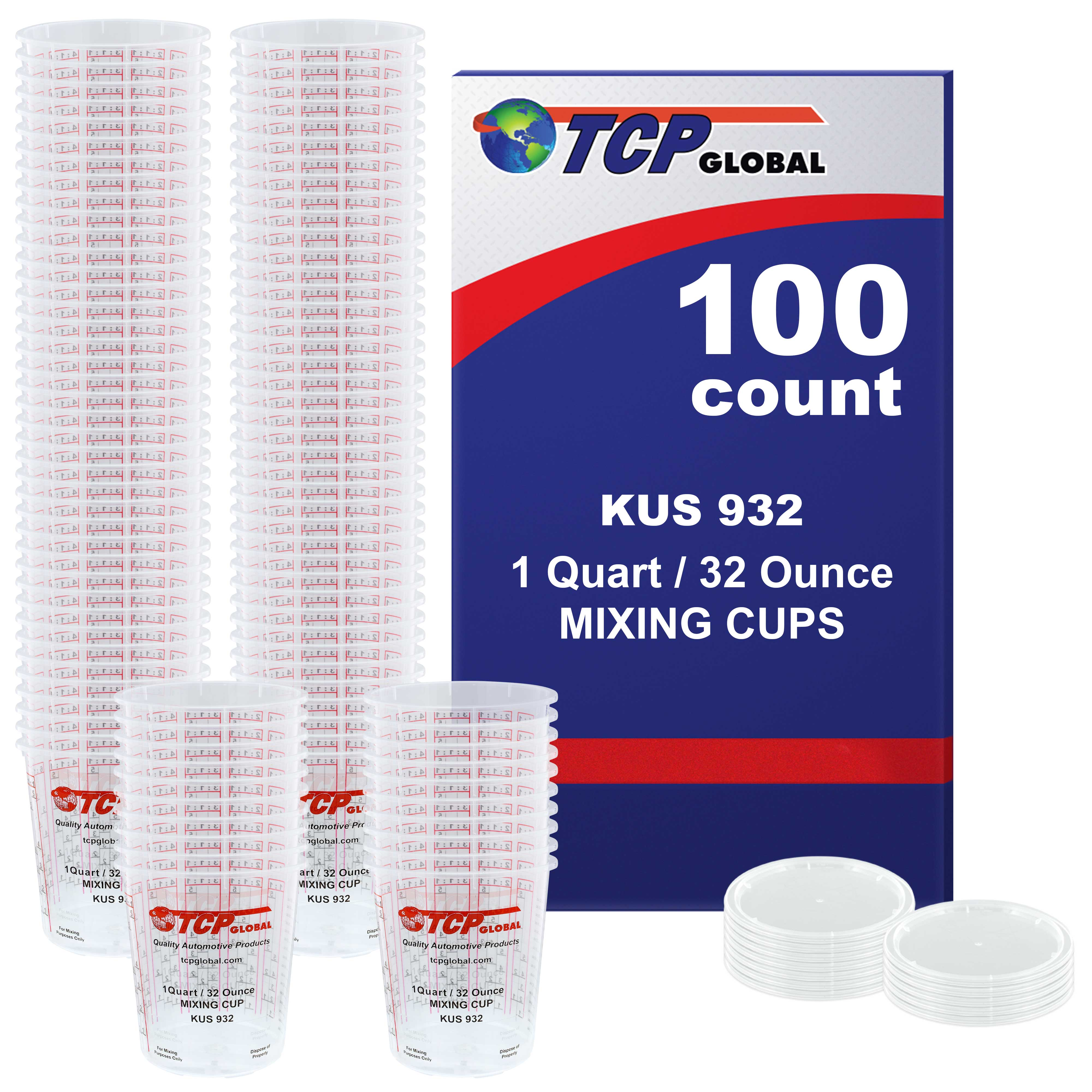 Box of 100 - Mix Cups - Quart size - 32 ounce Volume Paint and Epoxy Mixing Cups - Mix Cups Are Calibrated with Multiple Mixing Ratios - Includes 12 Bonus Lids