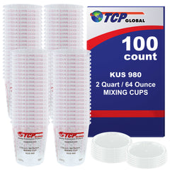 Box of 100 - Mix Cups - Half Gallon size - 64 ounce Volume Paint and Epoxy Mixing Cups - Mix Cups Are Calibrated with Multiple Mixing Ratios - Includes 12 Bonus Lids