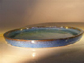 Round Blue Ceramic Humidity/Drip Tray - Bonsai Creek