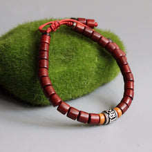 Load image into Gallery viewer, Handmade Sanders Wood With White Copper Mantra Charm Bracelet