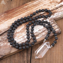 Load image into Gallery viewer, 108 Lava Stone Bead & White Quartz Point Mala Necklace - Bonsai Creek