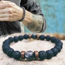 Load image into Gallery viewer, Tibetan Style Lava Rock & Moonstone Men's Bracelet