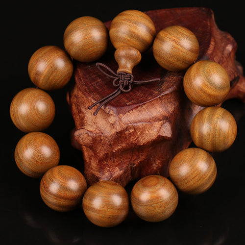 Big Natural Sandalwood Bead Mala Bracelet - Bonsai Creek