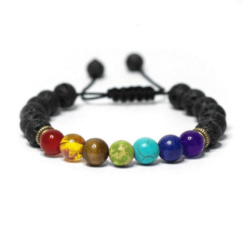 7 Chakra Healing Stones Adjustable Mala Bracelet - Bonsai Creek
