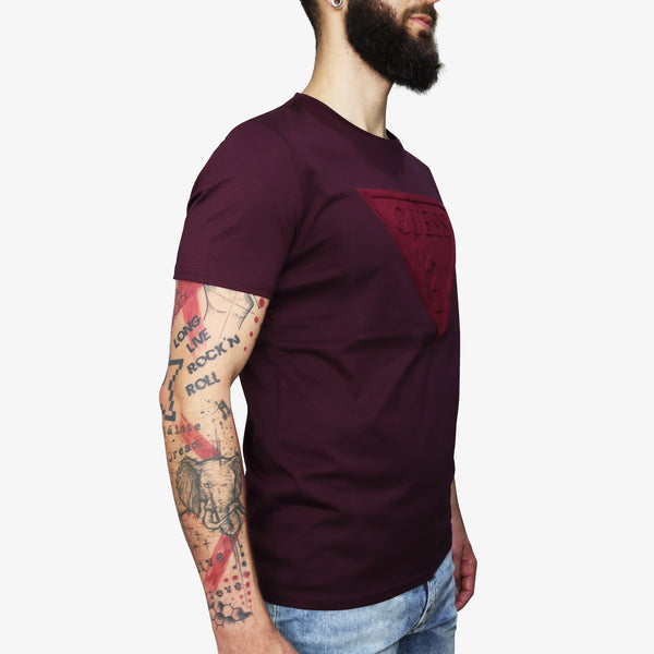 GUESS - Homer Raised Logo T-Shirt Wine - Shop at PURO Dublin, Ireland.