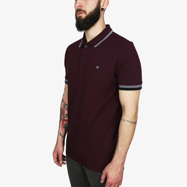 GUESS - Triangle Patch Logo Polo Burgundy - Shop at PURO Dublin, Ireland.