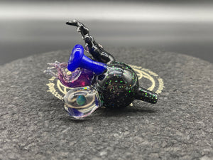 Paulson Pieces 25MM Crushed Opal Cap w/ 4mm Green Opal Sphere & Deja Blue Galaxy Block & Stargazer