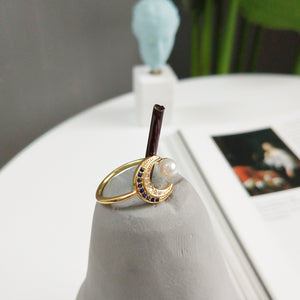 Moon & Star Open Ring