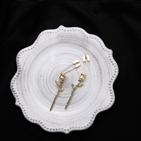 Rose & Safety Pin Earrings