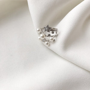 Star & Pearl Open Ring
