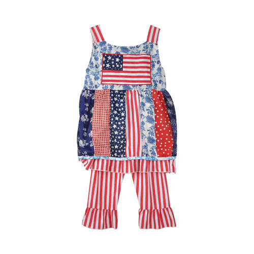 2017 New Fashion 4th of July Girls Outfits  Kids Clothes For National Day Childrens Striped Capris Boutique Clothing J014