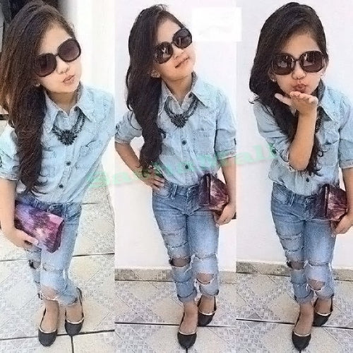 2018 spring autumn new arrival girls clothing set denim shirt+hole jeans 2pcs kids girl clothes suits childrens clothing
