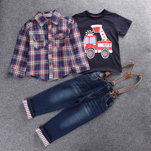 2018 Casual Childrens clothing sets spring Baby boy suit Long sleeve plaid shirts+car printing t-shirt+jeans 3pcs suit set F1802