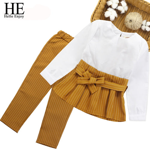 HE Hello Enjoy Childrens Clothes Autumn Winter Teenagers Girls Clothing Sets Long Sleeve Bow Tops+Stripe Pants 2pcs Suits Kids
