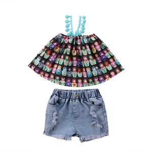 0-4T Newborn Infant Kids Baby Girl Clothing Off shoulder cartoon Top Hole denim jeans Shorts set Fashion Childrens streetwear