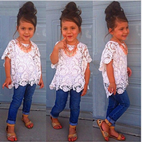 Retail 2018 Spring Girls Clothing Set T shirt + lace shirt + hole jeans 3pcs kids girl clothes suits denim childrens clothing