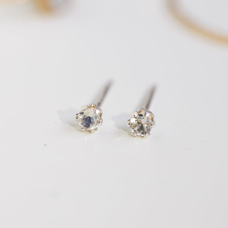 Tiny Moonstone Earrings