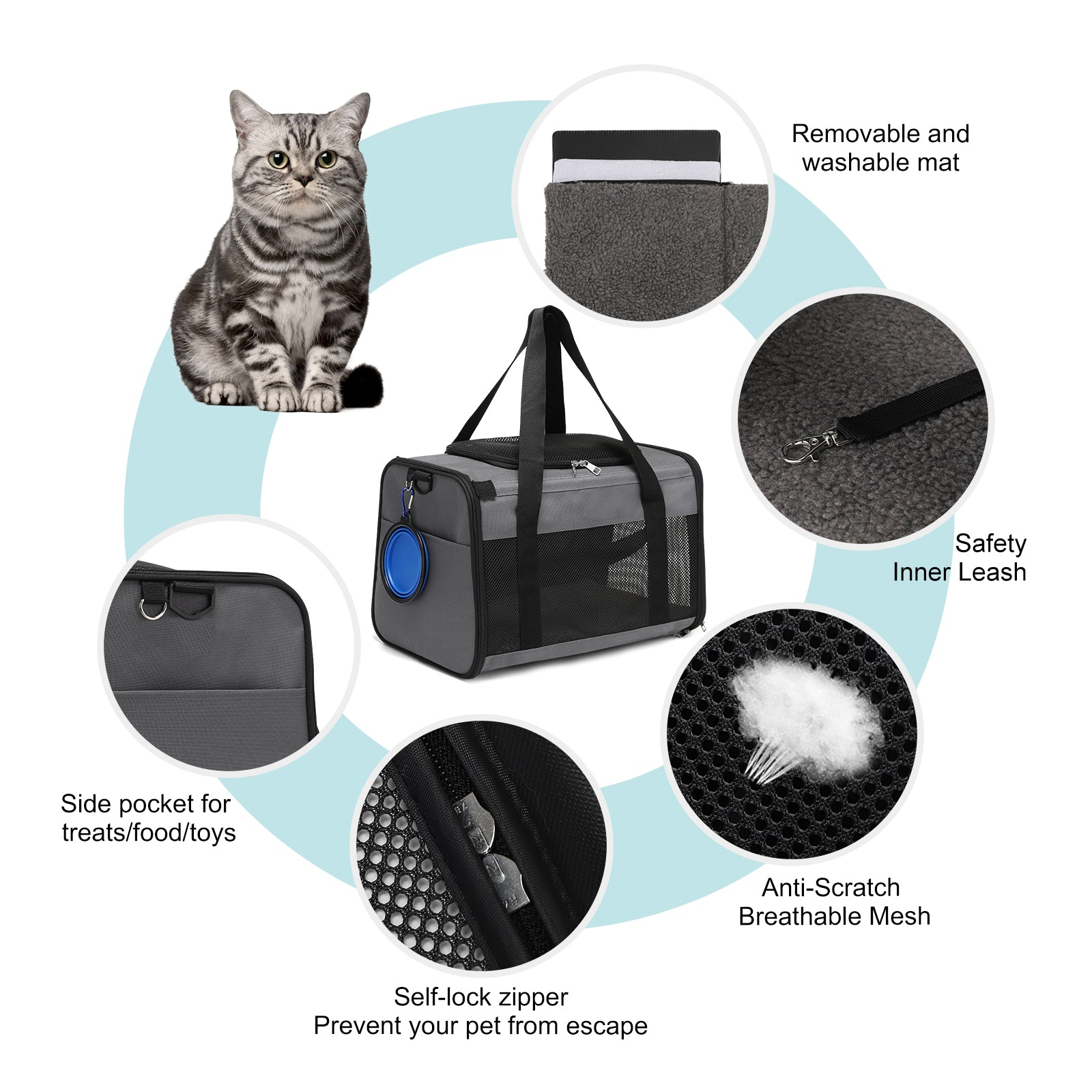 Cat Carrier Dog Carrier, Pet Travel Carrier Airline Approved for Small Dogs Puppies Large Cat