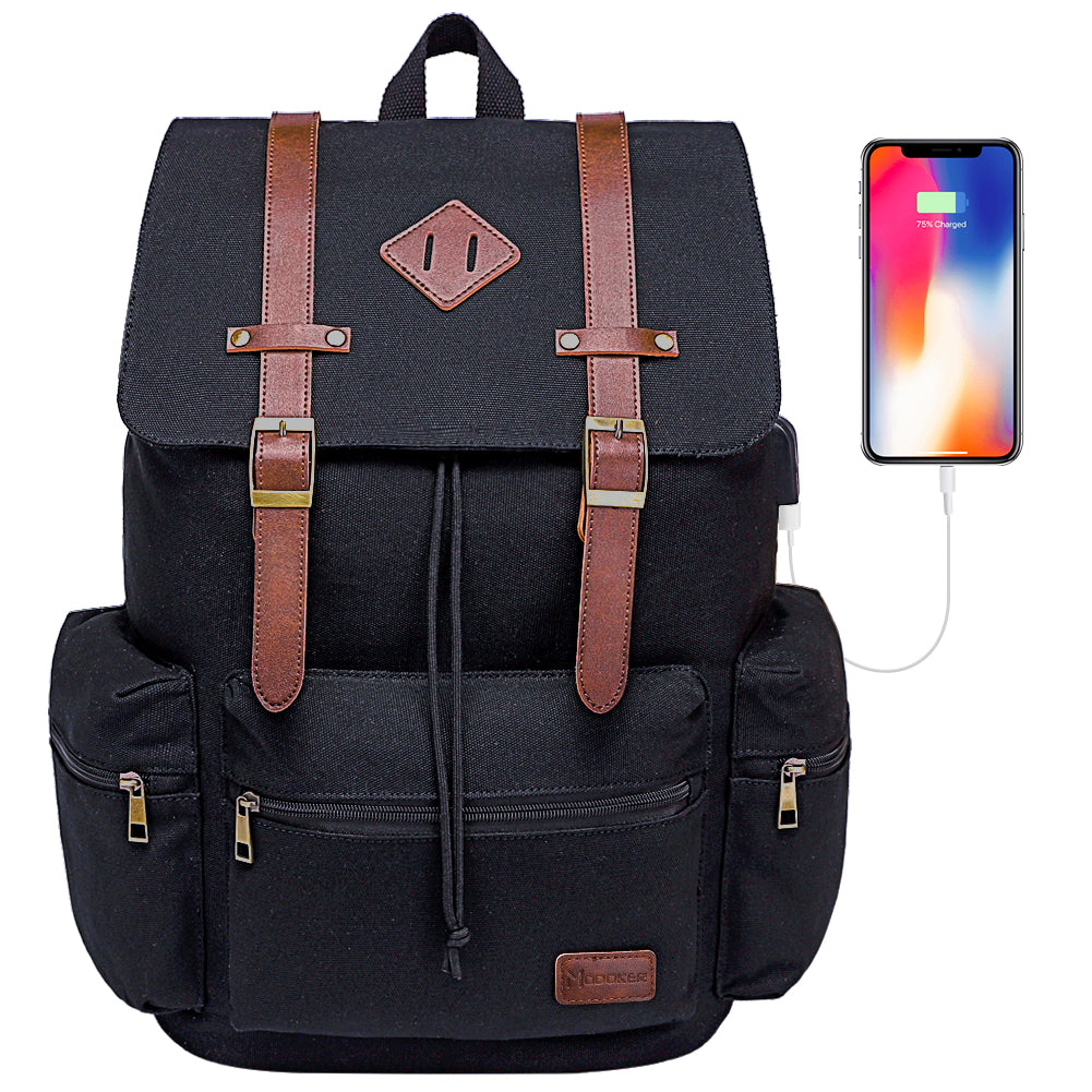 Canvas Leather Laptop Backpack with USB Charging Port