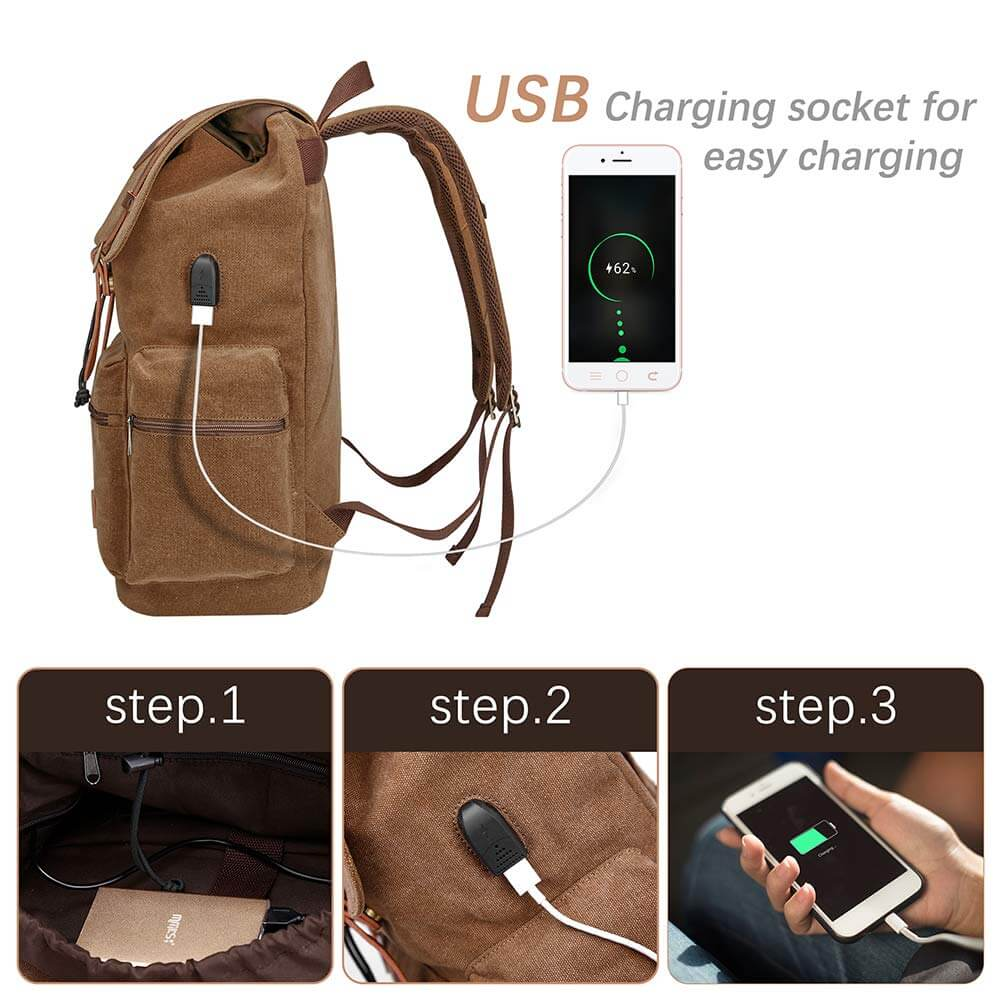 Canvas Leather Laptop Backpack with USB Charging Port - Modoker