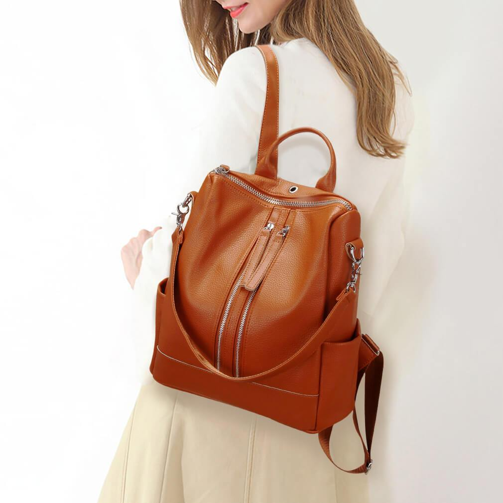 Convertible Leather Backpack Purse for Women - Modoker