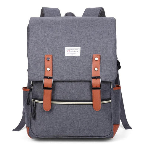 Modoker 15'' Vintage Laptop Backpack with USB Charging Port - Modoker