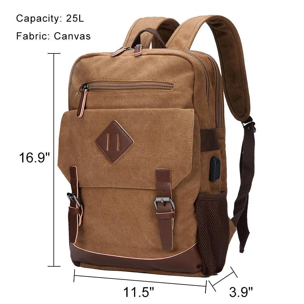 Modoker Canvas Vintage Backpack With USB Charging - Modoker