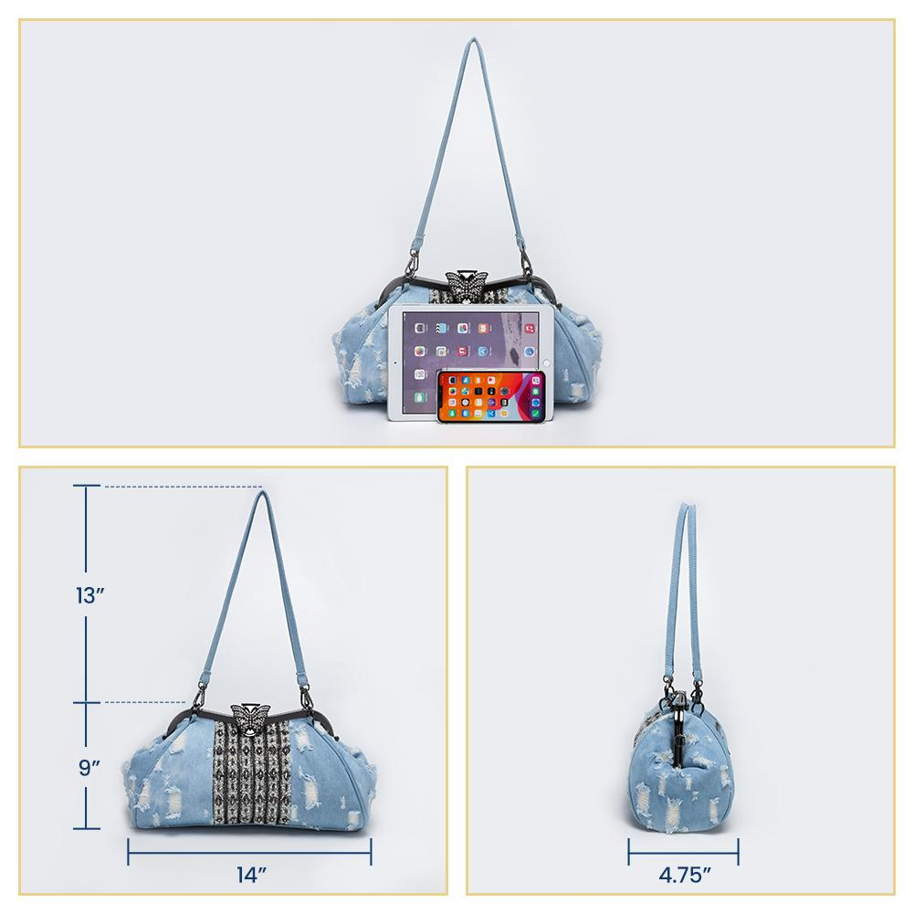 Modoker Denim Handbags for Women, Bling Rhinestone Purses, Jeans Crossbody Bags with Detachable Shoulder Strap - Modoker