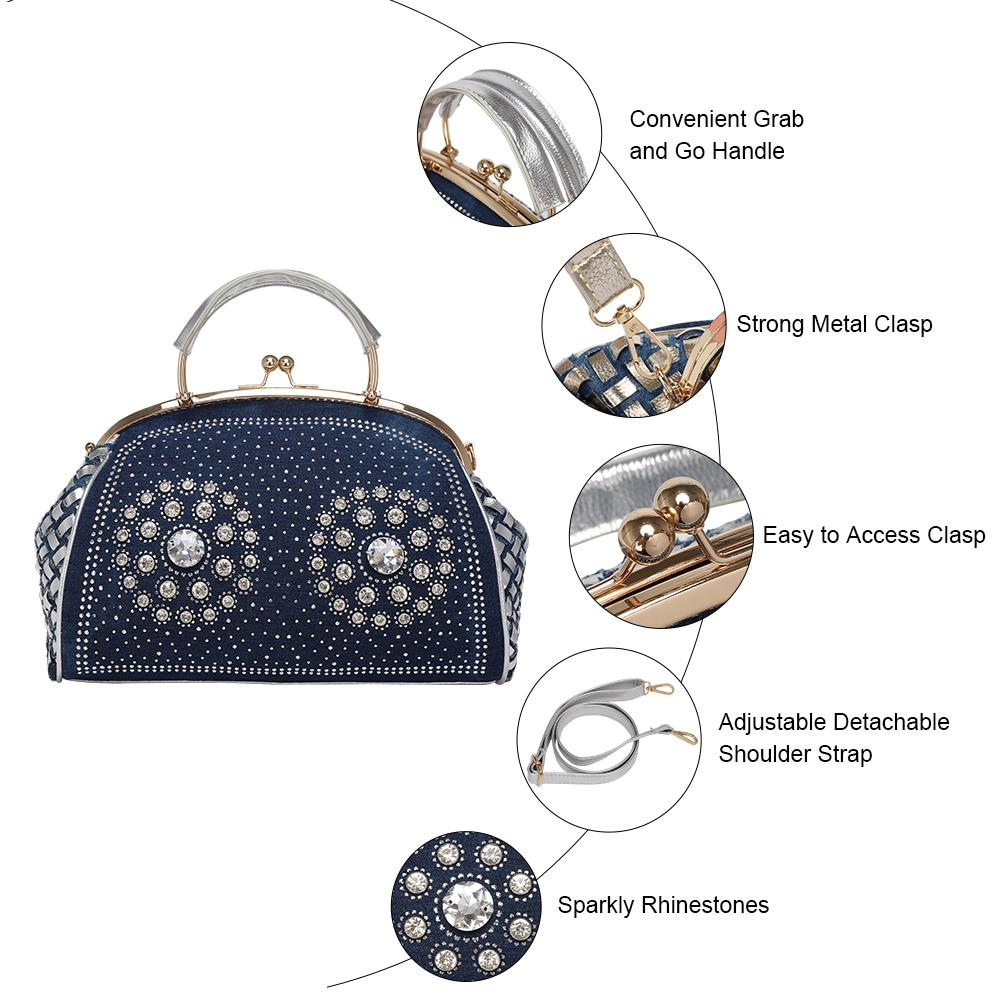 Modoker Jeans Handbags for Women, Shiny Denim Purses, Rhinestone Satchel, Kiss Clasp Bags with Detachable Shoulder Strap, Dark Blue - Modoker
