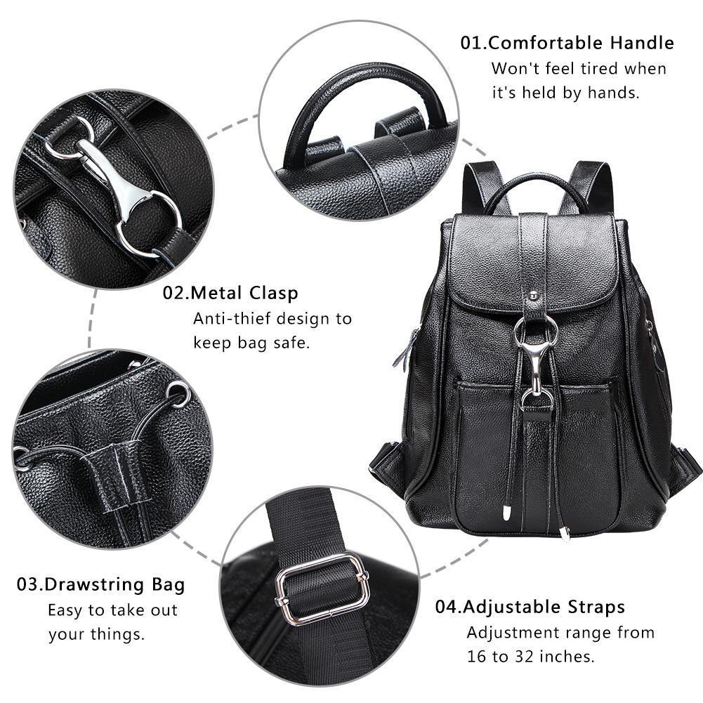 Modoker Women Casual Daypack Genuine Leather Flap Bag - Modoker