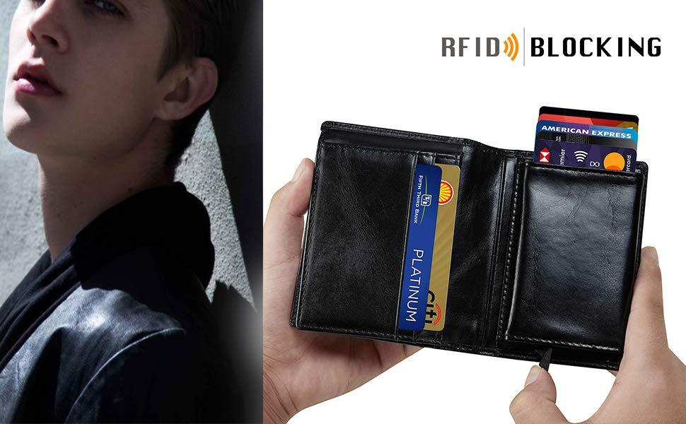 NFC & RFID Blocking Card Holder Leather Wallet-Large Capacity - Modoker