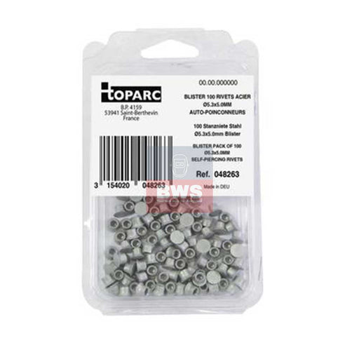 BLISTER PACK OF SPR RIVETS STEEL / ACIER Ø5.3X5.0MM - SKU 048263