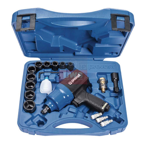 "PREVOST 1/2"" DRIVE LIMITED  TORQUE COMPOSITE AIR IMPACT WRENCH-TWIN HAMMER-IN CASE - SKU TIW C12L815K"