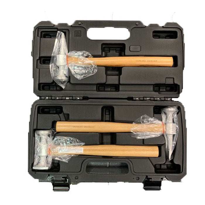 Telwin Hammer Aluminium Panel Set  3 specialist planishing hammers in a plastic case use for vehicle body repair work.