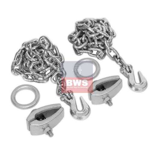 Vehicle Body Repair Chain Kit 2 x 2m Chains 2 x Clamps SKU RE91/5/CK