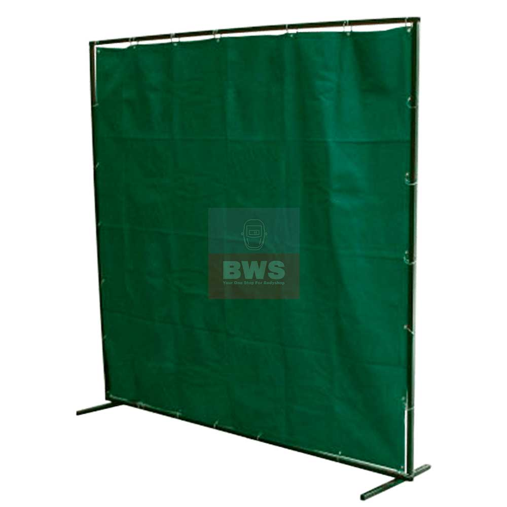 Green PVC Welding Safety Curtain Complete 6' x 6' / 8 x 6