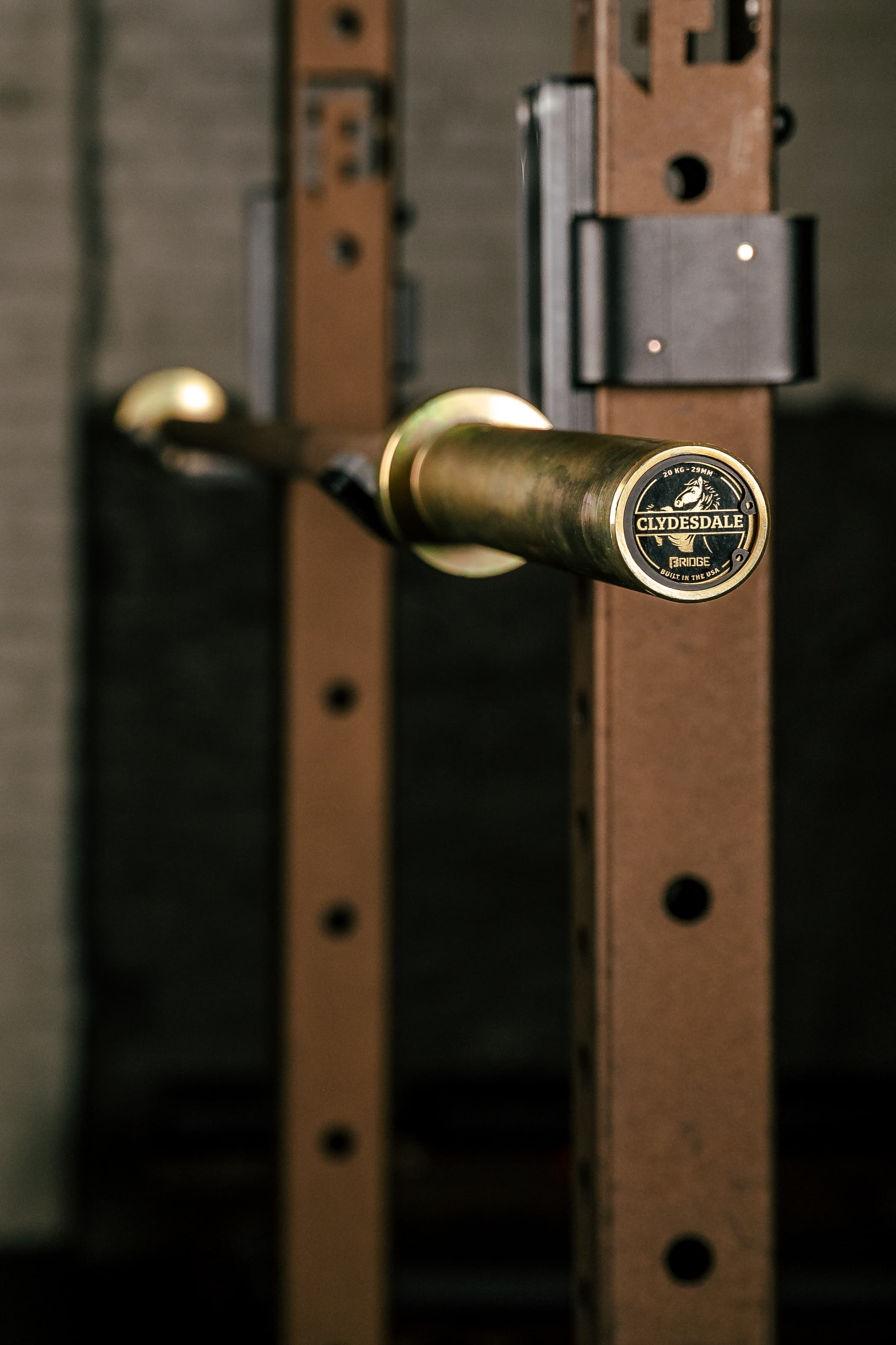 endcap of clydesdale barbell with the clydesdale logo