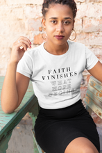 Load image into Gallery viewer, Faith Finishes What Hope Begins - Unisex Short Sleeve V-Neck T-Shirt