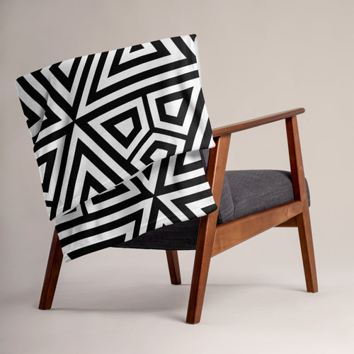 Black Abstract - Throw Blanket 50 x 60