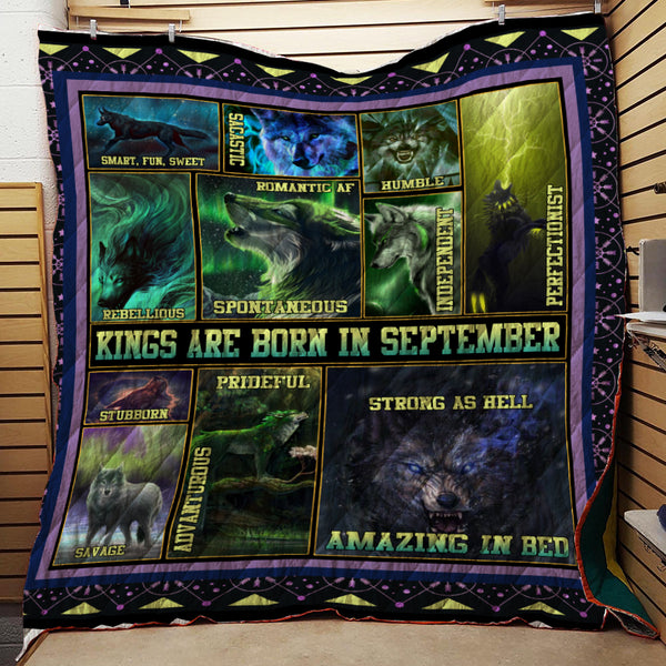 KINGS ARE BORN IN SEPTEMBER  WOLF QUILT
