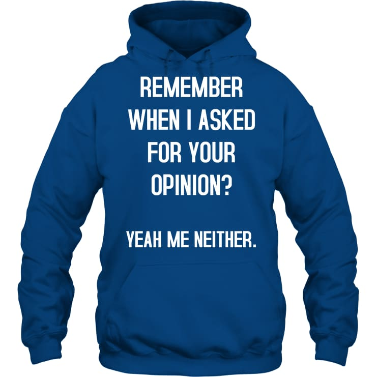 Remember When I Asked Funny Shirt - Gildan 8Oz. Heavy Blend Hoodie / Royal / S - Apparel