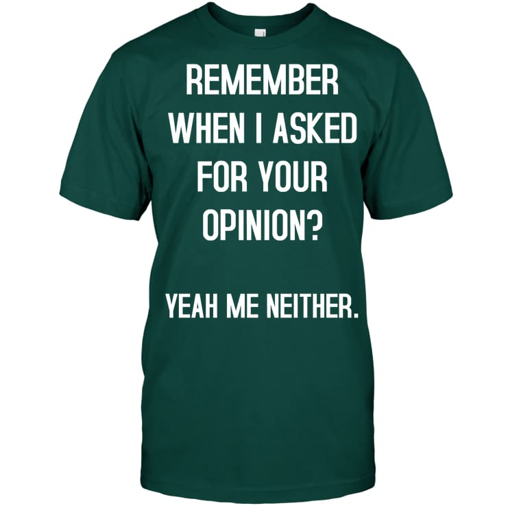 Remember When I Asked Funny Shirt - Hanes Tagless Tee / Deep Forest / S - Apparel