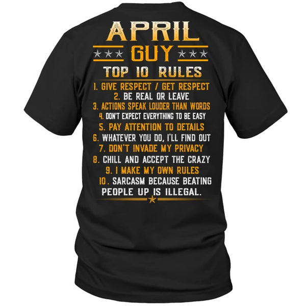 Top Rules Guy April - Hanes Tagless Tee / Black / S - Apparel